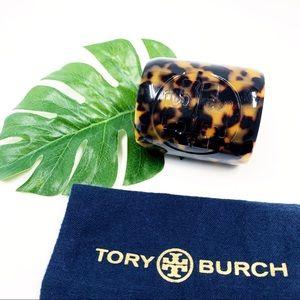 TORY BURCH Logo Tortoise Resin Cuff Bracelet